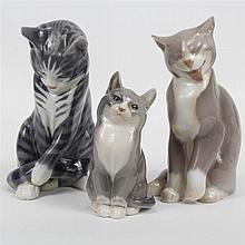 Group of three Royal Copenhagen porcelain cat figures