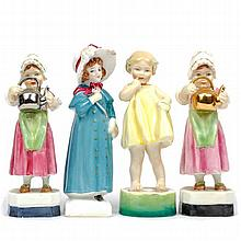 Group of four Royal Worcester and Royal Doulton porcelain child figures