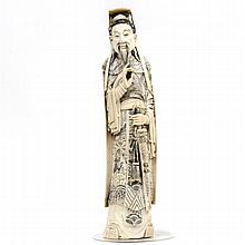 Large Chinese carved ivory figure of nobleman