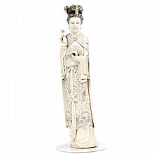 Large Chinese carved ivory figure of noblewoman