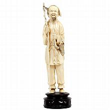 Large Chinese carved ivory figure of old man with fishing pole
