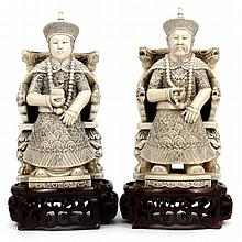 Pair of Chinese carved ivory figures of enthroned Emperor and Empress