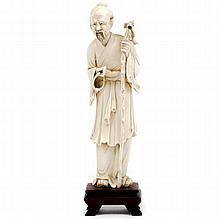 Chinese carved ivory figure of man with beads and staff