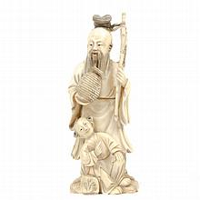 Chinese carved ivory figure group