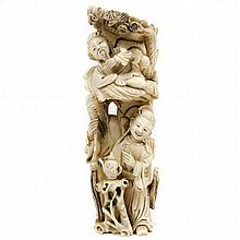 Large Chinese intricately carved ivory figure group of immortals drinking tea