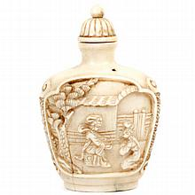 Chinese carved ivory snuff bottle with love scene
