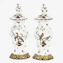 Pair fine 19th Century Meissen porcelain lidded vases / urns;