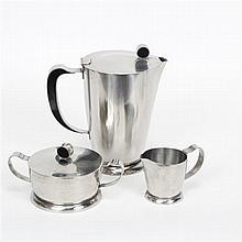 Gense Sweden Art Deco 20th Century Modern stainless steel tea set with black enamel inlay.