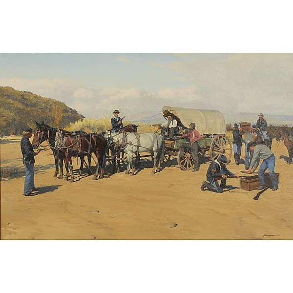 Francis Henry Beaugureau, (1920-2001), Western genre scene, Oil on canvas, 26
