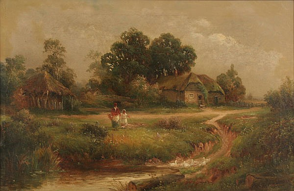 Herbert F. King, (19th/20th Century), Continental scenic cottages and figures in landscape, oil on canvas, 19 1/2