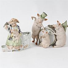 Pair of German Bisque Pink Pig Figure Groups