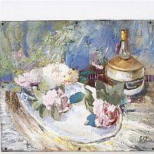 Ida Nash Gordon, Indiana (1903-1983), Still Life with Flowers, Oil on board, 19 1/2