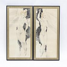 Attributed to Georges-Pierre Guinegault, (French; b.1893), pair Art Deco era reclining nudes, charcoal mixed media on paper, Image:...