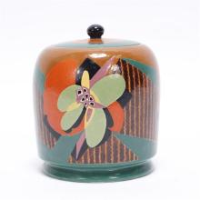American Satsuma Art Deco hand painted porcelain lidded canister vessel
