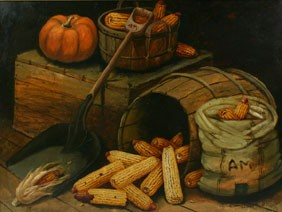 Alfred Montgomery Corn Still Life Oil Board