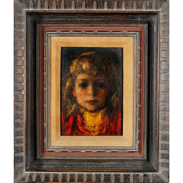 Robert Philipp, (1895-1981), Portrait of Young Girl, Oil on board, 8.5