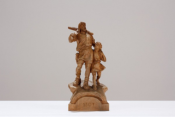 William Tell Swiss carved figure group.