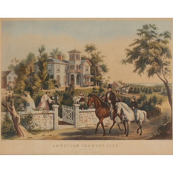 N. Currier American Country Life May Morning large format lithograph.
