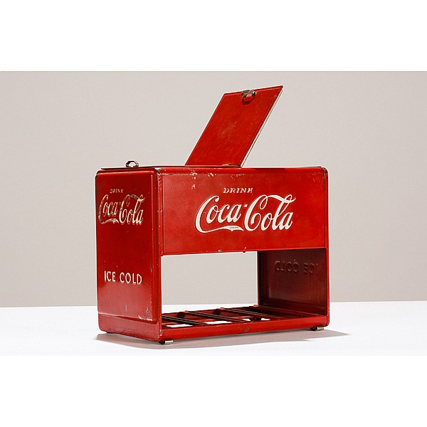 Coca-Cola salesman sample miniature advertising cooler.
