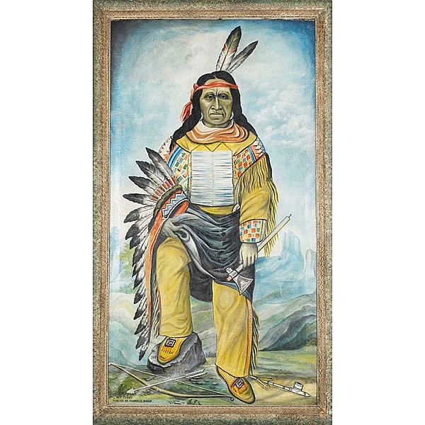 Redman Fraternal Lodge painting; (5.5 Feet) Native American full length portrait of Chief Red Cloud by Granville Bishop (1831-1902);...