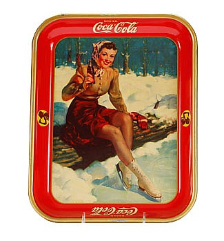 Vintage 1941 Coca-Cola litho advertising tray with ice skater.
