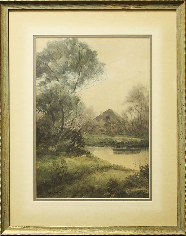 Edward R. Sitzman, (1874 - 1949), Indiana landscape with pond and barn, watercolor, 18 1/2