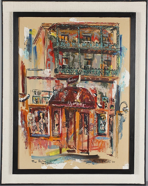 Dan Gottschalk, (American; 1919-1979), The Shobar, New Orleans, oil on board, 29 1/2