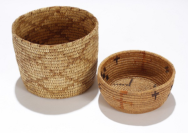 Two Native American Indian baskets.