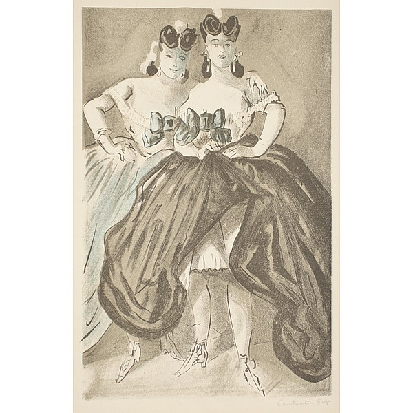 Constantin Guys, French; (1802 - 1892)., Two female models, Lithograph., 13 7/8