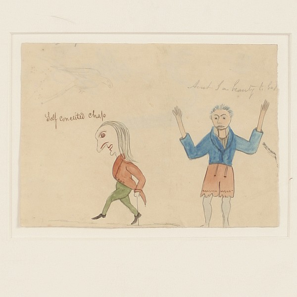 George Washington Sully, American; (1816 - 1890)., Self Conceited Chap, Watercolor, pen and graphite on paper., 4 4/8