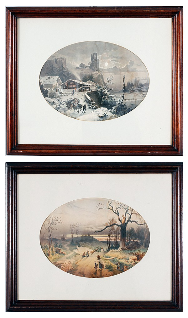 Pair color lithographs after Louis-Emile Dardoize (Paris; 1829-1901);