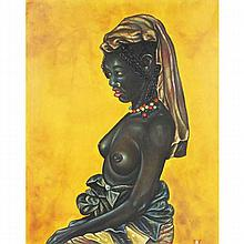 Derrick Woodford, (American; b. 1957), Untitled 1983 portrait of an African woman, oil on canvas, 30 1/4