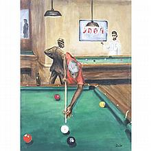 Derrick Woodford, (American; b.1957), 8 Ball (The Final Shot), 2014, oil on canvas, 28 1/4