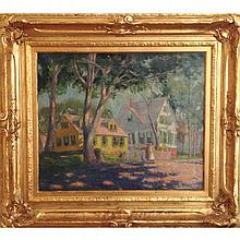 Ada Walter Shulz, (Wisconsin/Indiana; 1870-1928), mother and daughter strolling past a yellow house, oil on canvas, 25