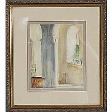 Jerry Farnsworth, (Massachusetts/Florida;1895-1982), interior with column, watercolor on paper, Sight; 11