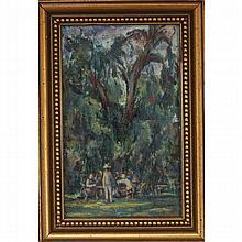 Victor DeCarlo, (1916-1974), New England picnic scene, oil on board, 8
