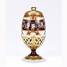 Hand enameled 19th Century porcelain lidded urn or jar.