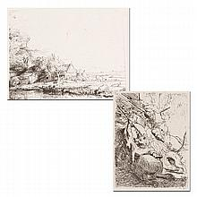 Two photogravure etchings on laid paper after Rembrandt Van Rijn;