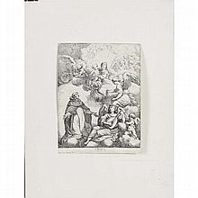 School of Guido Reni; Madonna of the Rosary, anonymous engraving on laid paper.