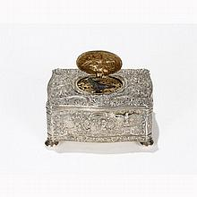 German sterling silver repousse singing bird box automaton.