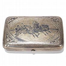 Russian (.875) standard silver cheroot cigar case with troika niello work decoration, ca. late 19th Century.