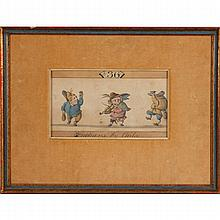 Original 18th C. Continental satire cartoon featuring three grotesque caricatures, watercolor on paper.
