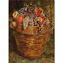 Italian School 19th Century fruit in basket still life, oil on panel