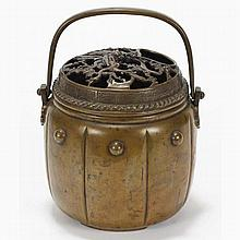 Japanese bronze koro incense burner or hibachi;