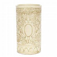 Weller Clinton Ivory umbrella stand with allover stylized floral and scrolling decoration in relief.