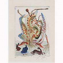 Salvador Dali, (Spanish; 1904-1989), Di Schlemmerei, 23rd Canto of Purgatory from The Divine Comedy series, woodblock, 12