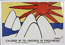 Alexander Calder 1973 LARGE exhibition poster; Calder at 75 - Works In Progress, Perls Galleries, New York