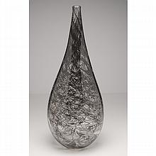 Ben Johnson American studio art glass vase, clear with black merletto