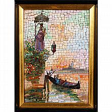 Italian mosaic plaque depicting the Venetian skyline at sunset, probably Salviati, c.1900.