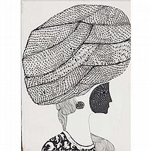 Raymond A. Toloczko, (Illinois; 1925-1972), woman in turban, pen and ink on paper, 20